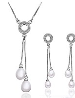 Platinum Plated diamond crystal water drop pearl jewelry set for women party necklace/earring  Bridal Jewelry Sets S020