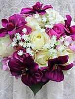Ramos de Flores para Boda Forma Libre Rosas / Lilas Ramos Boda Amarillo / Rosado / Verde / Morado Satén Aprox.23cm