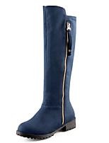 Mujer-Tacón Bajo-Botas a la Moda-Botas-Vestido / Casual / Fiesta y Noche-Vellón-Negro / Azul / Marrón