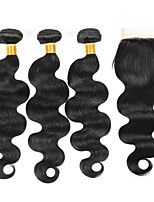 3 Bundles Brazilian Virgin Hair Weft Body Wave With 1Pcs Lace Closure Natural Black Hair Extensions