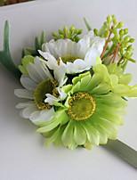 Bouquets de Noiva Atado à Mão Lírios / Peônias Buquê de Pulso Casamento Verde Cetim 4.72