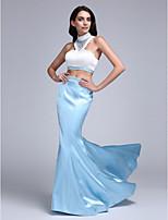 Serata formale Vestito A sirena Collo alto Strascico a terra Raso elasticizzato con Perline