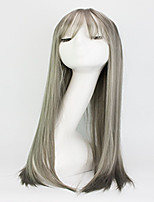 Europe And The United States The New Fashion Wig Female Long Straight Hair Air Bang Grey Sets