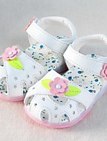 Girls' Shoes Casual Leather Flats Summer Comfort / Round Toe Flat Heel Flower Pink / White