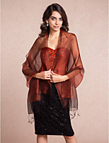 Women's Wrap Shawls Sleeveless Silk Burgundy Wedding / Party/Evening / Casual Tassels Open Front