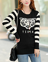 Women's Casual/Daily Cute Regular Pullover,Print Blue / Black Round Neck Long Sleeve Cotton Fall Medium