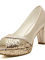 Women's Shoes Synthetic Chunky Heel Peep Toe Sandals Wedding / Party & Evening / Dress / Casual Silver / Gold
