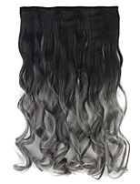 Long Synthetic Curly Clip In On ombre Hair Extension 5 clips in Hair weave one slice two tone hairpieces BlackTDark Gray