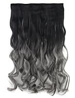 longo encaracolado sintético clipe na na extensão do cabelo ombre 5 clipes na tecelagem do cabelo uma fatia dois postiços tom blacktdark