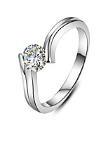 0.5CT Engagement Ring for Women Solitaire Jewelry SONA Diamond Solid Silver Guarantee in Platinum Plated PT950 Engraved