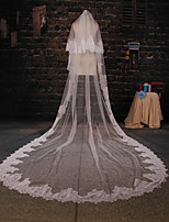Wedding Veil Two-tier Cathedral Veils Lace Applique Edge Tulle Ivory Ivory