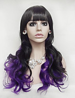 Europe And The United States Black Purple Mix Color Long Curly Wig 28 Inch Hair High Temperature Wire Cosplay Wig