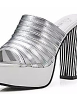 Women's Sandals Summer Sandals PU Casual Chunky Heel Others Black / White / Silver Others