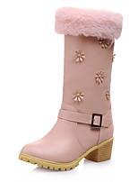 Women's Shoes Chunky Heel Snow Boots / Round Toe Boots Dress / Casual Pink / Beige