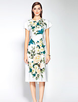 boutique s Women's Going out Sophisticated Sheath Dress,Embroidered Round Neck Midi Short Sleeve White Polyester