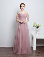 Floor-length Satin / Tulle Bridesmaid Dress-Silver / Candy Pink Sheath/Column Scoop