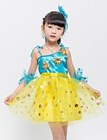 Latin Dance Dresses Children's Performance Polyester Appliques 1 Piece Blue / Yellow Latin Dance Sleeveless