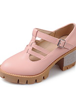 Women's Shoes PU Summer / Fall Heels/Round Toe Heels Office & Career / Casual Chunky Heel Buckle Black/Pink/Beige