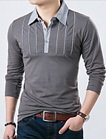 Men's Long Sleeve Polo,Cotton / Acrylic Casual / Work Patchwork 916255