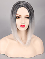 European And American Fashion Ladies Short Straight Hair Black Ash High Temperature Gradient Silk Wig