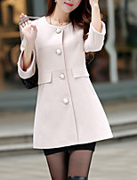 Women's Going out / Casual/Daily Simple / Street chic Coat,Solid Round Neck ¾ Sleeve Fall Pink / Beige / Yellow Cotton