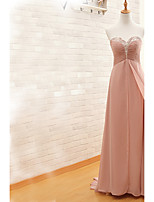 Formal Evening Dress Sheath / Column Sweetheart Sweep / Brush Train Chiffon with Beading / Crystal Detailing / Ruching