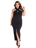 Women's  Plus Size Cross Halter Jersey Dress