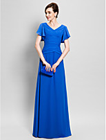 Sheath/Column Mother of the Bride Dress - Floor-length Short Sleeve Chiffon