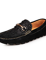 Men's Shoes Pigskin Casual Flats Casual Walking Flat Heel Others / Ruched Black / Blue / Gray / Khaki