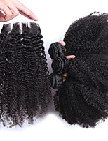 Kinky Curly Virgin Hair With Closure 6A Lace Closure With Bundles Mongolian Virgin Hair  Afro Kinky Curly Hair
