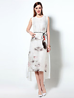 Boutique S Women's Going out Chinoiserie Chiffon Dress,Print Round Neck Knee-length Sleeveless Blue / White