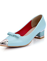 Women's Shoes PU Summer/Pointed Toe Heels Office & Career/Casual Chunky Heel Bowknot/Metallic toe Blue/Pink / White
