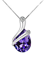 Silver Wrapped Amethyst Shiny Crystal Necklace Clavicle Chain