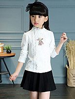 Girl's Casual/Daily Solid Tee,Rayon Spring / Fall White