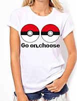 Inspired by Pocket Monster Little Monster Video Game Cosplay Costumes Cosplay T-shirt Geometric / Print White Short Sleeve Top