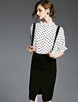 Ewheat® Women's Stand 1/2 Length Sleeve Knee-length Dress-H0954