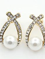 Forme Géométrique,Bijoux 1 paire A la Mode Doré Alliage / Imitation de perle / Strass Mariage / Soirée / Quotidien / Décontracté / Sports