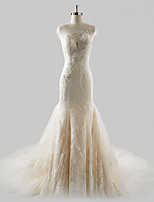 Fit & Flare Wedding Dress Court Train Jewel Lace / Tulle with Beading