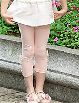 Girl's Casual/Daily Solid Pants,Cotton Summer Pink / White