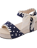 Women's Shoes PU Summer Open Toe Sandals Casual Wedge Heel Others Blue / Pink / Purple