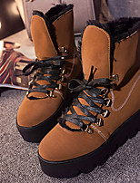 Women's Shoes PU Winter Combat Boots Boots Casual Flat Heel Rivet Brown / Khaki