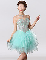 Cocktail Party Dress Ball Gown Sweetheart Knee-length Tulle with Beading / Sequins
