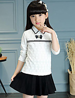 Girl's Casual/Daily Striped Tee,Rayon Spring / Fall White