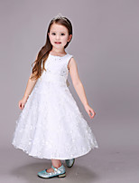A-line Tea-length Flower Girl Dress - Cotton / Organza / Satin Sleeveless Jewel with