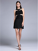 Cocktail Party Dress - Little Black Dress Sheath / Column Jewel Short / Mini Jersey with Lace
