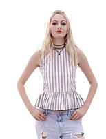 Women's Striped White Blouse,Crew Neck Sleeveless