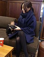 Mulheres Casaco Casual Simples Outono / Inverno,Sólido Azul / Branco Lã Decote Redondo-Manga Longa Grossa