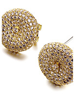 Women Deluxe Cubic Zirconia Stud Earrings Round Quality Cz Platinum Gold Plated Brass Environmental Friendly Material