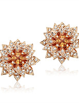 Luxurious Orange Cubic Zirconia Lotus Flower Shape 18k Gold Plated Stud Earrings For Women