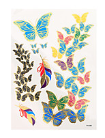 1pc Flash Metallic Tattoo Gold Waterproof Colorful Butterfly Feather Temporary Tattoo Sticker YH-084